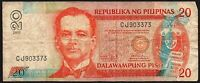 2011 Philippines 20 Piso Banknote * CJ 903373 * Good * P-182k * Signature # 19