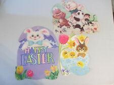 Vintage Spring Happy Easter Skating Animals Egg Cardboard Diecut Decoration Hot