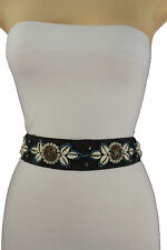 Women Black Fabric Tie Fashion Belt Hip High Waist Beads Sea Shells Leaves S M L