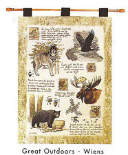 Great Outdoors ~ Bear Wolf Eagle Moose Tapestry Wall Hanging