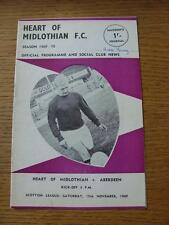 15/11/1969 Heart Of Midlothian v Aberdeen  (writing on covers, team changes)