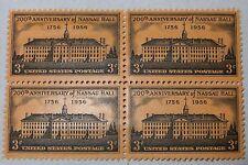 $0.03 Cents 200th Anniversary of Nassau Hall Stamp Block of 4