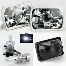 """7X6"""" Clear Glass Projector Headlight Conversion w/ 6000K 36W LED H4 Bulbs Chevy"""