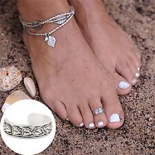 Silver Foot Beach Feet Jewelry Girl Toe Rings Adjustable Lady Knuckle Finger LZ
