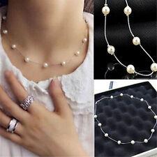 Fashion Ladies Jewelry Pendant Chain Pearl Choker Chunky Statement Bib NecklaceR