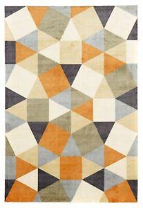 Modern Floor Rug Pixels Pattern Rust Grey Blue Carpet Mat Shag Non Skid Decor