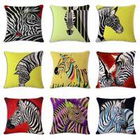 "18""*18"" Colorful Zebra Bird Square Throw Cotton Linen Pillow Cushion Cover"