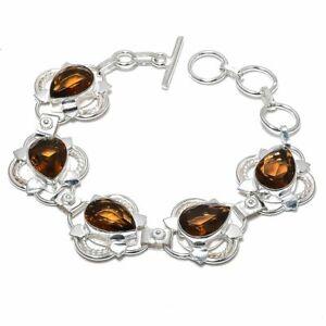 """Smoky Quartz Gemstone Handmade 925 Sterling Silver Jewelry Bracelet Sz 7-8"""""""