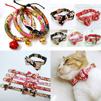 Adjustable Small Pet Dog Bow Collar Puppy Cat Buckle Neck Strap + Bell 17 Styles