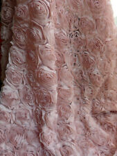 "1 Yard Vintage Pink 3D Rose Lace Bridal Fabric Rosette Chiffon Fabric 51"" Wide"