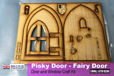 Fairy Door and Window  -Birch Plywood - Home Craft kit assemble and paint