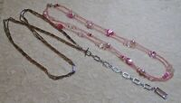 VINTAGE TO NOW MULTI STRAND SILVER TONE CHAIN & PINK GLASS BEADED NECKLACE LOT
