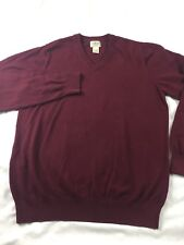 LL Bean Cashmere blend Wool Sweater V-neck Red Size L