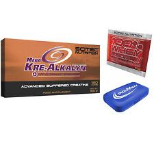 Scitec Nutrition Mega Kre-alkalyn 120 Capsules Créatine + Échantillon + pillbox 40 jours