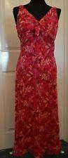 Monsoon Damas Vestido de seda de cuello en V Cerise PINK Mezcla Estampado Floral Talla 10 Usado