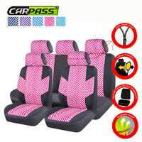 Universal Car Seat Cover Linen Pink Front Rear Car Seat Protector for SUV VAN