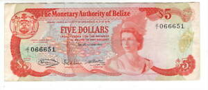 Monetary Authority of BELIZE $5 Dollars VF+ QEII Banknote (1980) P-39 Prefix J/1