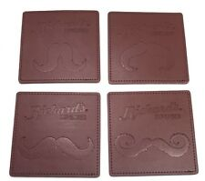 Set Of 4 Rickard's Leather Movember Moustache Coasters Brown Leather