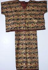 Handmade Kimono Style Top Long Wrap Skirt Brown Black Striped Gold Swirl Fabric