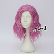 35CM Medium Dark Pink Curly Harajuku Halloween Lolita Cosplay Wig Heat Resistant