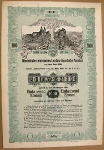 AUSTRIA Lower Austrian Railway 1000 Kronen 1906 Bond  *