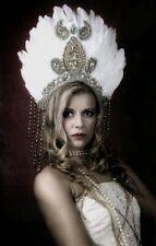 Festival Fantasy fancy dress photo shoot HANDMADE feather headdress SPARKLY