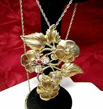 ANTIQUE RARE GOLD TONE STERLING SILVER FLOWER BOUQUET DIAMOND DRAGONFLY PENDANT