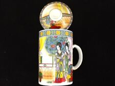 Chinese Porcelain Tea Cup Handled Infuser Strainer w Lid 10 oz Beautiful Colors.