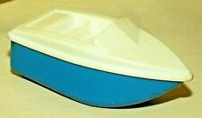 SPEED BOAT PLASTIC BLUE WHITE UNMARKED USED VINTAGE UNDATED WEIGHTED BOTTOM TUB.