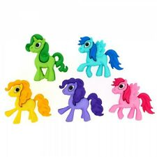 5 Colourful Pony Parade Dress It Up Novelty Craft Buttons Embellishments