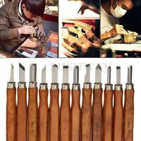 12PCS Professional Wood Carving Hand Chisel Tool Set Woodworking Gouges +