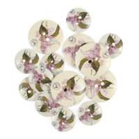 25mm 15 x Assorted Violet Peach Rose Wooden Craft Buttons 18mm