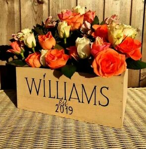 PERSONALIZED MR&MRS FLOWER BOX RUSTIC WOOD WEDDING TABLE CENTERPIECE WOOD CRATE