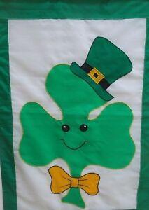 "Happy Shamrock St. Pat's Standard Applique House Flag by CBK, 28"" x 40"" #9484"