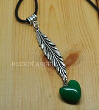 Antique Silver Plt Feather & Green Jade Heart Pendant Necklace Ladies GIft Reiki