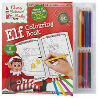 ELF COLOURING BOOK WITH 8 MINI PENCILS PROPS ON THE SHELF IDEAS TOY CHRISTMAS