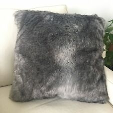 Max Studio Faux Fur Cushion Charcoal Dark Grey Boho Nordic Hygge Feather Filled