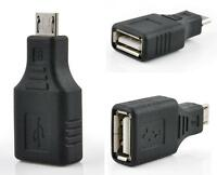 USB 2.0 Female to Micro USB B 5 Pin Male Plug OTG Adapter Converter Black New EY