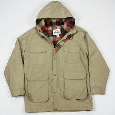 Vintage Woolrich Mens Khaki Wool Lined Rain Wind Barn Work Parka Jacket Large