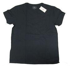 Double Ralph Lauren RRL Mens Solid Vintage Slim Fit Black Red White Tee Shirt