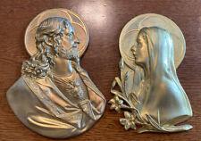 Antique Wall Plaques Pair Jesus Mary Gilt Metal Signed Louis Vinson Aronson 1924