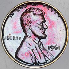 1961-P LINCOLN MEMORIAL CENT VIVID PURPLE BLUE COLORING BU UNC PRIME TONED (MR)