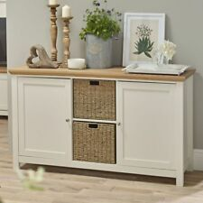 OFF WHITE CREAM & OAK COUNTRY SIDEBOARD STORAGE CABINET WITH BASKET STORAGE