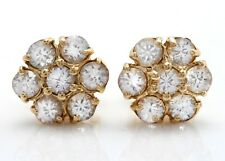 3.00 Carat Natural White Sapphire in 14K Solid Yellow Gold Stud Earrings