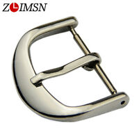 Stainless Steel Watch Band Strap Buckle Round Silver Polished Clasp 16 18 20mm