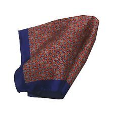 NEW Battisti Napoli Silk Pocket Square Pochette Red and Navy Micro Paisley