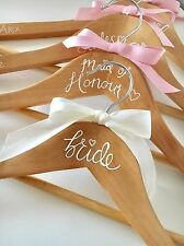 Personalised wedding bridal party bridesmaid wooden hangers bride gift hen