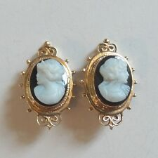 VICTORIAN 14K YELLOW GOLD HARD STONE CARVED CAMEO CLIP-ON EARRINGS, 10 grams