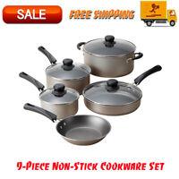 Tramontina 9-Piece Non-Stick Cookware Set, Champagne, Dishwasher Safe, Kitchen