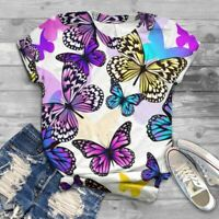 Damen Schmetterling Blumen Bluse T-Shirt Hemd Tunika Shirt Lose Oberteil Tops DE
